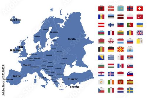 Fototapeta europe map and flags
