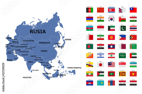 asia map and flags Poster