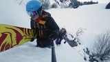 Footage of snowboarders man and girl adventure at mountain backcountry.