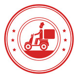 monochrome circular frame with delivery man in scooter vector illustration