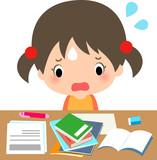 宿題が多くて困っている女の子