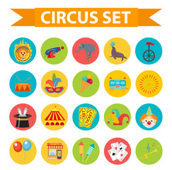 Circus icon set, flat, cartoon style. Set isolated on a white background with elephant, lion, Sealion, gun, clown, tickets. Design elements. Vector illustration clip art