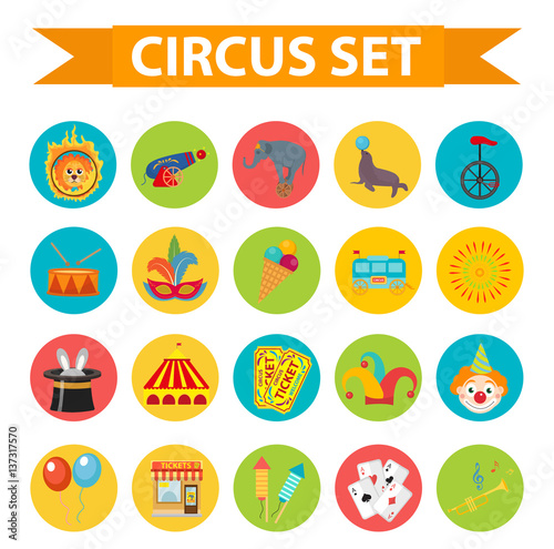 In de dag Indiërs Circus icon set, flat, cartoon style. Set isolated on a white background with elephant, lion, Sealion, gun, clown, tickets. Design elements. Vector illustration clip art