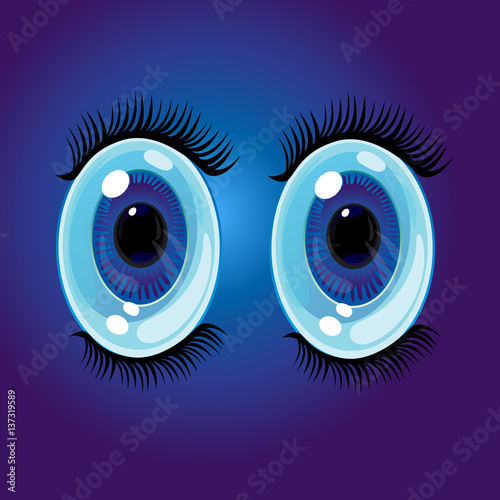 Big oval cartoon eyes. Wide open anime style eyes with long eyelashes. Vector Illustration - 137319589