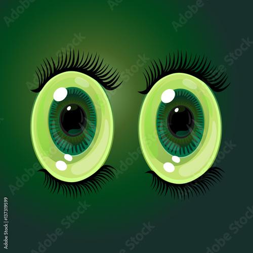 Big oval cartoon eyes. Wide open anime style eyes with long eyelashes. Vector Illustration - 137319599