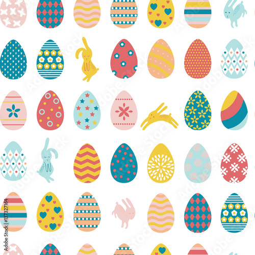 Cotton fabric Seamless pattern Easter eggs and rabbits.