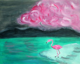 primitive naive oil painting, landscape with pink flamingos