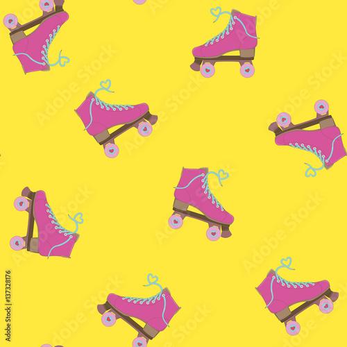 Fototapeta Rollers. Seamless background. Vector illustration. Image rolls. Roller Skates. Summer time. Background with rollers.