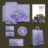 Stationery, Corporate Image Design with Colorful Tiles Pattern