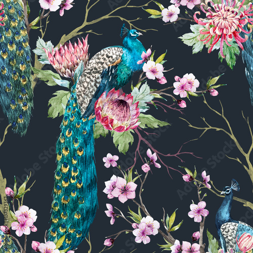 Cotton fabric Watercolor peacock pattern
