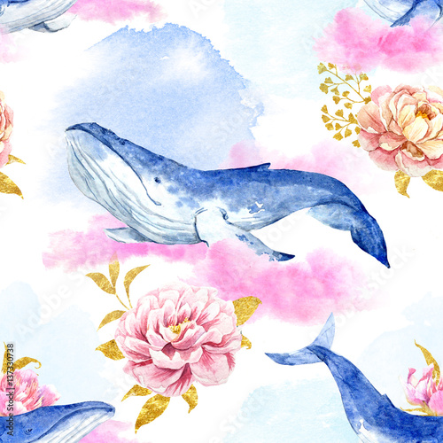 Abstract pattern with whales - 137330738