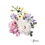 Bouquet of roses, watercolor, can be used as greeting card, invitation card for wedding, birthday and other holiday and  summer background. - 137336744