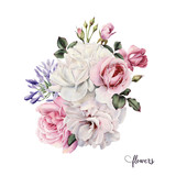 Bouquet of roses, watercolor, can be used as greeting card, invitation card for wedding, birthday and other holiday and  summer background. - 137336787
