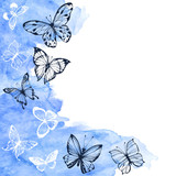Vector background with hand drawn butterflies and blue watercolor element. Sketch illustration with space for text, invitation or greeting card.