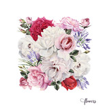 Bouquet of roses, watercolor, can be used as greeting card, invitation card for wedding, birthday and other holiday and  summer background. - 137336902