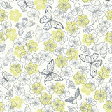 Seamless vector pattern with butterflies and flowers.
