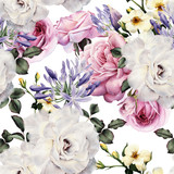 Seamless floral pattern with flowers, watercolor. - 137336980