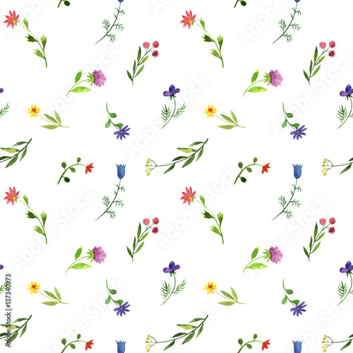 Panel Szklany seamless pattern with watercolor doodle plants and flowers