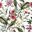 Cotton fabric Seamless tropical flower pattern, watercolor.