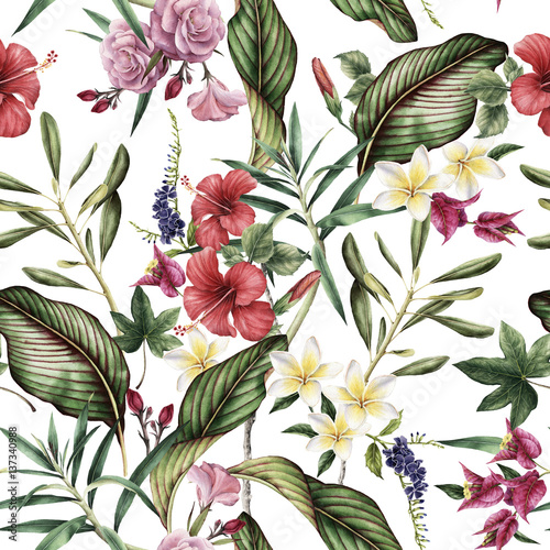 Seamless tropical flower pattern, watercolor. © ola-la