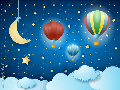 Surreal cloudscape with hanging moon and balloons