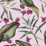 Seamless tropical flower pattern, watercolor. - 137343545