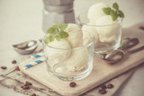 Vanilla ice cream in glasses
