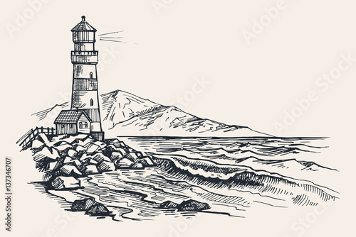 Lighthouse vector drawing