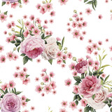Seamless floral pattern with roses, watercolor. Vector illustration. - 137347537