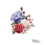 Bouquet of peonies, watercolor, can be used as greeting card, invitation card for wedding, birthday and other holiday and  summer background. - 137352112