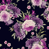 Seamless floral pattern with roses, watercolor. - 137352700
