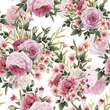 Seamless floral pattern with roses, watercolor. - 137353917