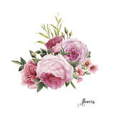 Flowers and leaves, watercolor, can be used as greeting card, invitation card for wedding, birthday and other holiday and  summer background. - 137354302
