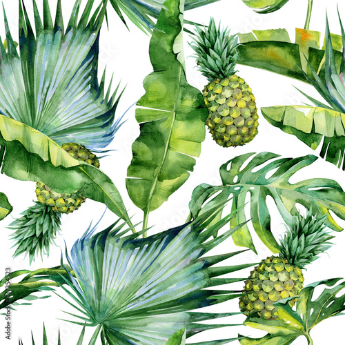 Seamless watercolor illustration of tropical leaves and pineapple, dense jungle. Pattern with tropic summertime motif may be used as background texture, wrapping paper, textile,wallpaper design.  - 137354523