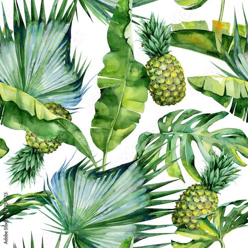 bezszwowa-akwareli-ilustracja-tropikalni-liscie