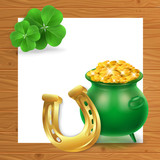 Card Design with Money Pot and Horseshoe