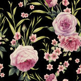 Seamless floral pattern with roses, watercolor. - 137354996