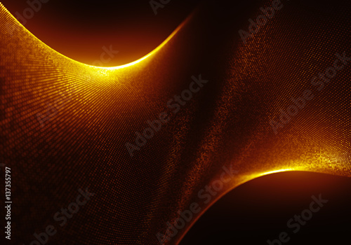 Foto op Aluminium Abstract wave Abstract Golden Particles Background with the Depth of Field and Glow