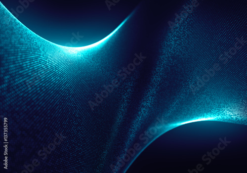 In de dag Abstract wave Abstract Blue Particles Background with the Depth of Field and Glow