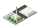 Isometric 3D city urban factory which includes buildings, power plant, heating gas, warehouse, elevator exterior. Flat map isolated infographic element set industrial structures