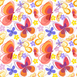 Seamless pattern with bright colored flowers and butterflies