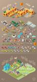 Isometric World on Dark Background . Set of Isolated Minimal City Elements