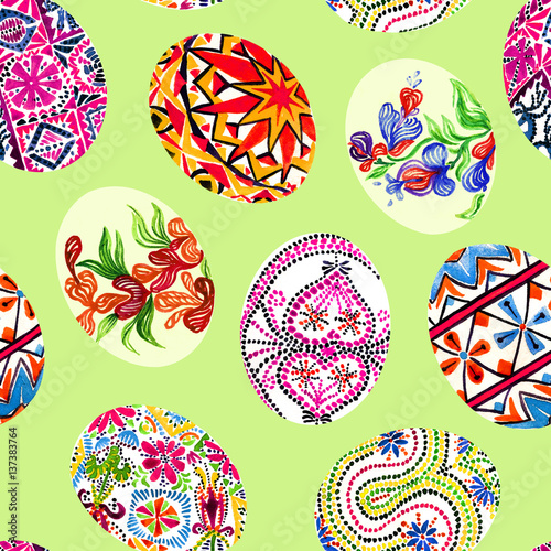 Materiał do szycia Easter eggs with traditional painting (Eastern European styles of painting, in particular Ukrainian motifs), seamless pattern hand painted watercolor illustration (green soft)