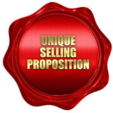 unique selling proposition, 3D rendering, red wax stamp with tex