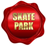 skate park, 3D rendering, red wax stamp with text