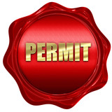 permit, 3D rendering, red wax stamp with text