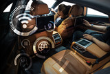 Fototapety Smart car and internet of things (IOT) concept. Technology icons and Hightech vehical background