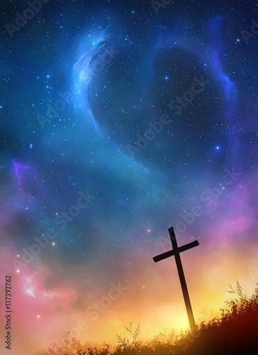 Cross and stars