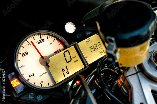 BMW S1000RR sport bike dashboard Poster