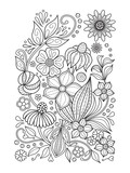 Fototapety Doodle floral pattern in black and white. Page for coloring book: relaxing job for children and adults. Zentangle drawing.